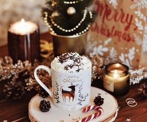 christmas, candle, and hot ​chocolate image