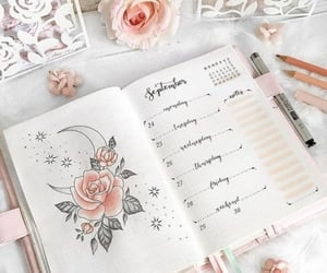 planner, rose, and school image