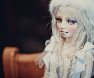 ball jointed doll, bjd, and black and white image