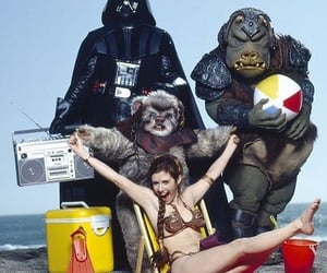 carrie fisher, darth vader, and star wars image