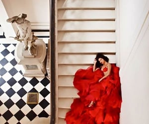 red, model, and dress image