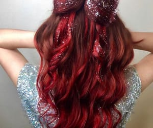 red hair, glitter hair, and christmas hair image