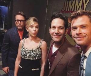 Scarlett Johansson, robert downey jr, and chris hemsworth image