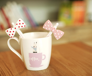 cute, coffee, and bow image