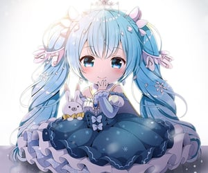 anime, blue hair, and chibi image