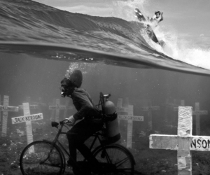 surf, black and white, and bike image
