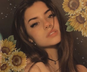 girl, beautiful, and flowers image