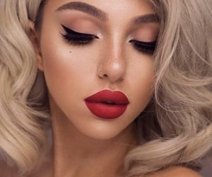 blonde, lipstick, and trends image