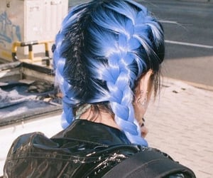 blue hair and fashion image