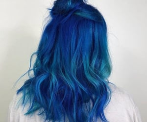 blue hair, buns, and colored hair image
