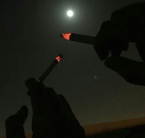night, cigarette, and smoke image