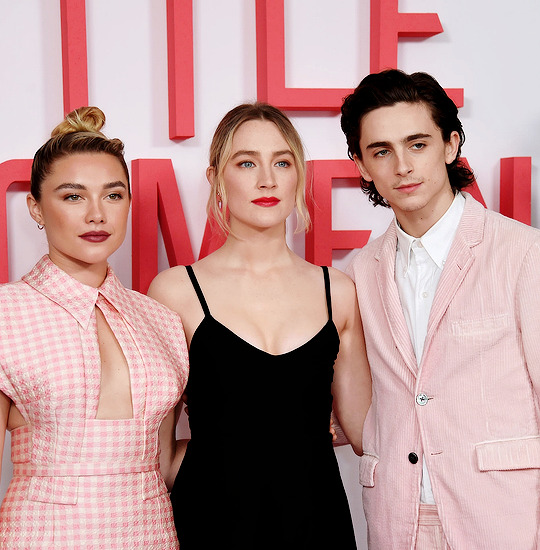 emma watson, Saoirse Ronan, and timothee chalamet image