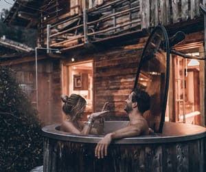 couple, bath, and relax image