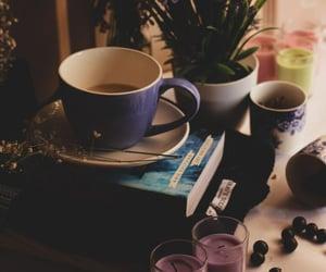 books, tea, and coffee and books image