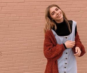 cardigan, denim, and happy image