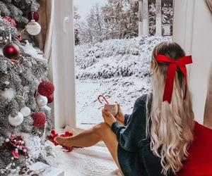 snow, christmas, and girl image