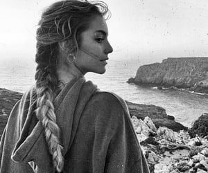 braid, beach, and black and white image