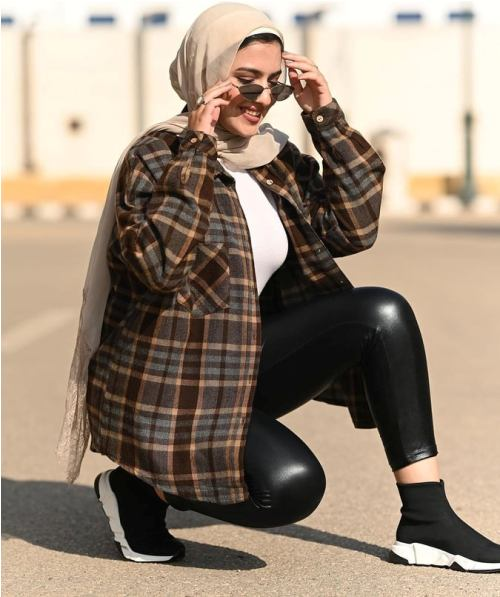 checked chemise, flannels with hijab, and plaid shirts with hijab image