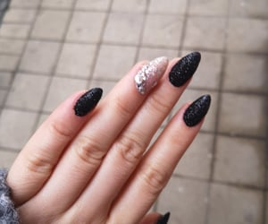 black nails, christmas, and glitter image