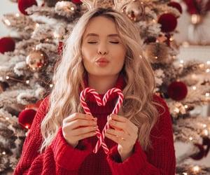 girl, christmas, and red image