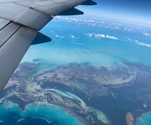 airplane, blue, and Caribbean image
