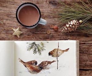 art, birds, and christmas image