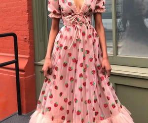 dress, fashion, and strawberry image