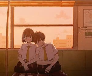 background, school uniform, and sunset image