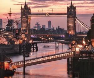 sunset, tower bridge, and england image