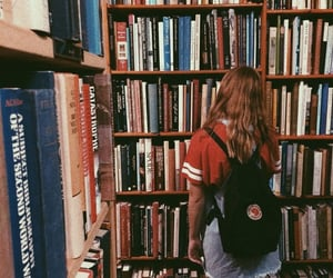 girl, book, and bookstore image