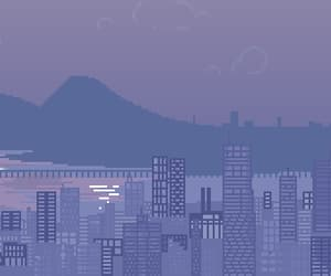 aesthetic, pixels, and purple image