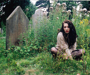 girl, graveyard, and nature image