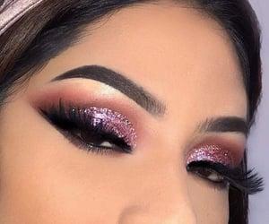 eyes, fake lashes, and glitter image