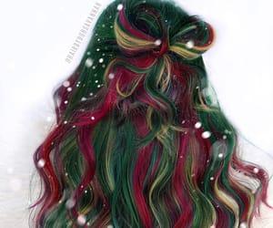 green hair, christmas hair, and highlight hair image