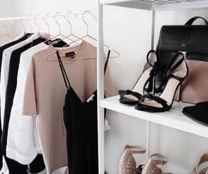 animal print, black dress, and heels image