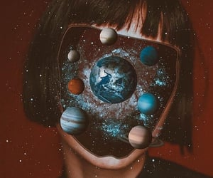 planet, girl, and space image