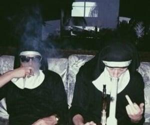 nun, smoke, and grunge image