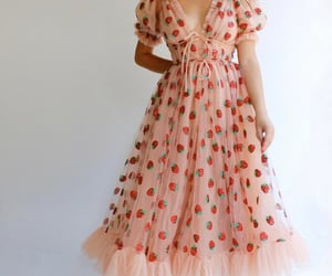 fashion, dress, and strawberry image