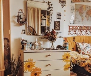bedroom, sunflower, and yellow image
