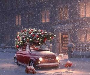 snow, winter, and christmas tree image