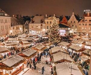 december, santa, and lights image