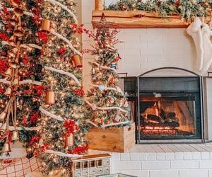 christmas, fireplace, and christmas gift image