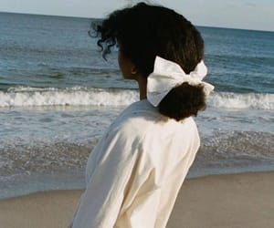 beach, curly hair, and waves image