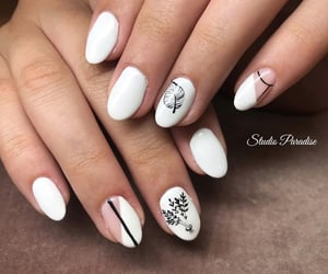design, white nails, and girl image