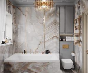 bathrooms, design, and desk image