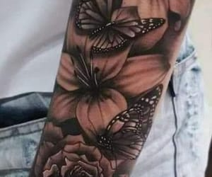 butterflies, flowers, and ink image
