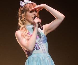 blonde, blue dress, and perform image