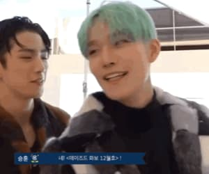 gif, mint hair, and cix image