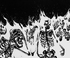black and white, fire, and skeleton image