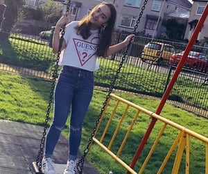 ripped jeans, smile, and swings image